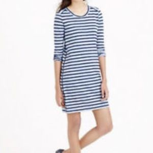 J.Crew Striped Side-Zip T-Shirt Dress Navy Stripes